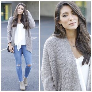 New grey open front chunky cardigan sweater